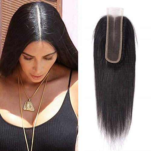 2x6 Lace Closure Human Hair, MS.ILSA Brazilian Remy Straight Lace Front Closure with Baby Hair for Women Natural Color 14inch
