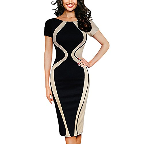 iLUGU Knee-Length Dress for Women Short Sleeve O-Neck Gourd Shape Patchwork Color Bodycon Party Business Style Pencil Gown Beige (Vintage Sweatshirt Glamour)