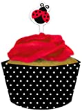 Creative Converting Ladybug Fancy Cupcake Topper Decorations with Matching Baking Cup Wrappers, 12 Count