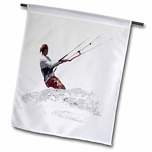 A Go Kite Flag Fly (3dRose Taiche - Vector - Kitesurfing Wakeboarding - Kiteboarding Lets Go Fly A Kite Vector - 18 x 27 inch Garden Flag (fl_264518_2))