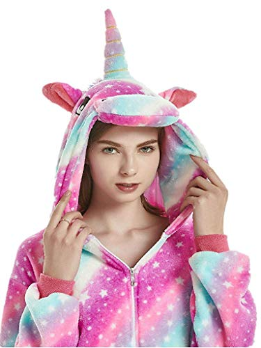 Unicorn Costumes For Teens (Adult Unicorn Animal Onesie Costume Pajamas for Adults and Teens S B-Purple Sky)