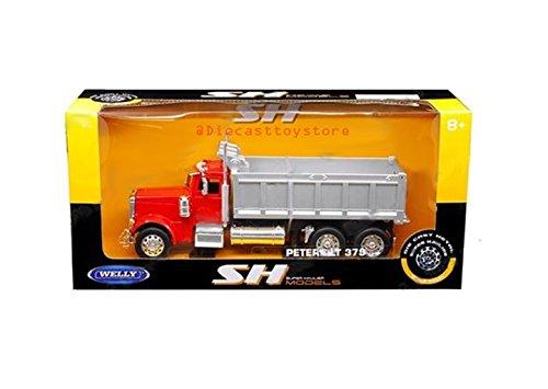 Super Dump Truck - Welly 1:32 W/B - Super Hauler - Peterbilt 379 Dump Truck Die Cast Vehicle, Red
