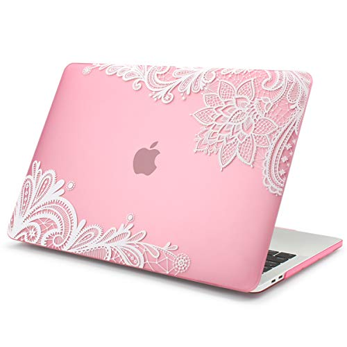 Batianda Lace Matte Rubberized Hard Case Cover for MacBook Air 11 (Model:A1370 and A1465) - Pink