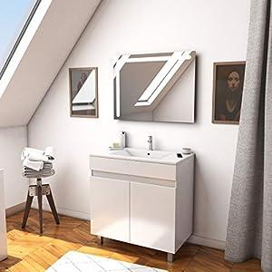 Aurlane Ensemble Meuble de Salle de Bain Blanc 60cm + Vasque ceramique Blanche + Miroir LED integree
