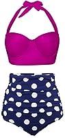 Angerella Polka Two Piece Swimsuit Beachwear Bathing Suits (BKI032-R2-3XL),Rose Red,US12-14=Tag Size 3XL