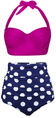 Angerella Polka Two Piece Swimsuit Beachwear Bathing Suits (BKI032-R2-M),Rose Red,US4-6=Tag Size M