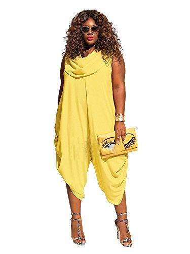 TrinhGuo Womens Plus Size Loose Harem Cowl Neck Jumpsuit One Piece Romper Playsuit Yellow 5XL - Cowl Neck Jumpsuit