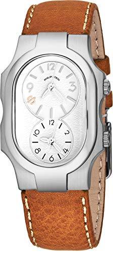 Philip Stein Signature Womens Natural Frequency Technology Watch - Classic White Face Dual Time Zone Ladies Watch - Stainless Steel Brown Leather Band Analog Quartz Fashion Watches for Women