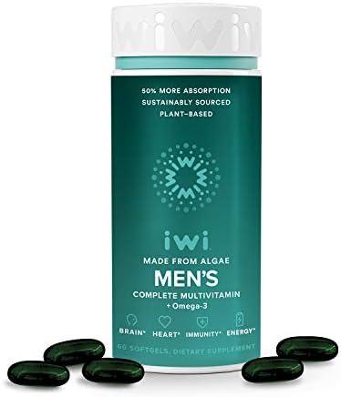 iwi Men's Multivitamin Supports Brain, Heart, Immunity & Energy for Total Health | Essential Vitamins, Minerals, Amino Acids, and Antioxidants | Vegan Algae Omega-3 | 30 Day Supply