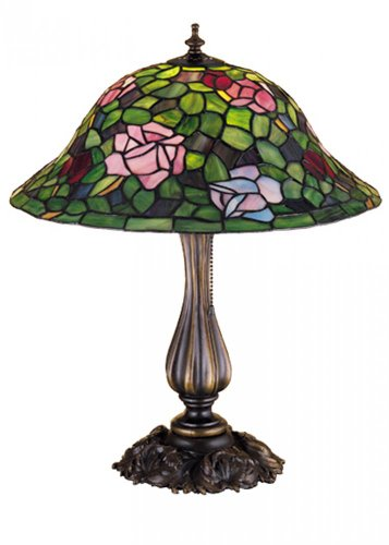 "Lumtopia Meyda Tiffany 26489 Rosebush Table Lamp, 20"" Height"
