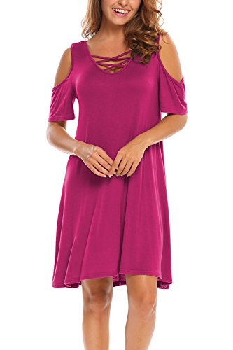 BLUETIME Women Cold Shoulder Criss Cross Neckline Short Sleeve Casual Tunic Top Dress (XL, Rose Red)