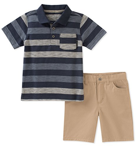 Calvin Klein Baby Boys 2 Pieces Polo Shorts Set, Gray/Khaki 24M