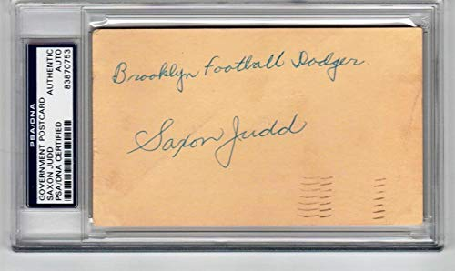 Saxon Judd Tulsa NFL Dodgers signed Government Postcard GPC Slab - PSA/DNA Certified - NFL Cut Signatures