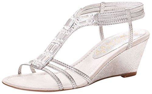(David's Bridal Metallic Wedge Sandals with Jeweled T-Straps Style GIVEMORE, Silver, 8)
