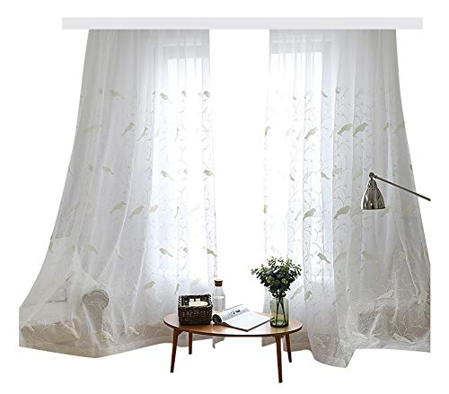 Smibra Countryside Sheer Panels Voile Window Lovely Birds and Twig Embroidered Curtains Rod Pocket for Living Room & Veranda(1 Panel, W50 x L63 inch, White) ()