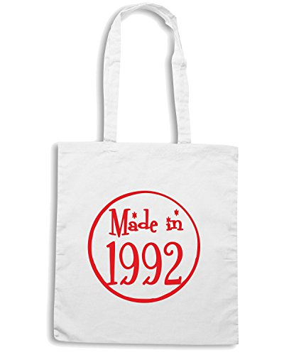 T-Shirtshock - Borsa Shopping TR0090 Made In 1992 21st Birthday Party Nineties 90s Pink Bianco