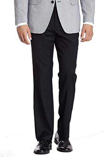 Tommy Hilfiger Mens Flat Front Trim Fit 100% Wool Suit Separate Pant, Black Solid, 30W x 32L