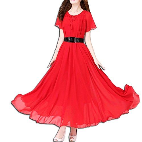 KAXIDY Elegante Vestidos Mujer Vestidos de Noche Vestidos de Cóctel Vestido Largo con Cinturón Rojo