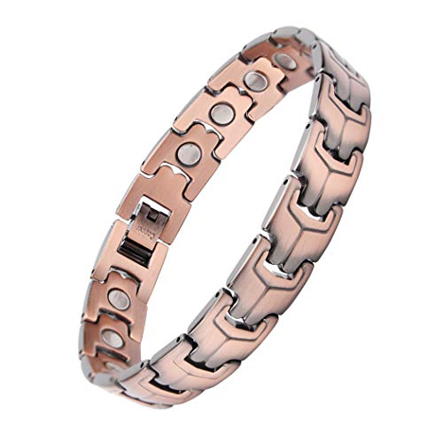 Mens Pure Copper Magnetic Therapy Bracelet, Ultra Strength Magnet Wristband Pain Relief for Arthritis and Carpal Tunnel