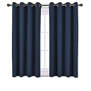 NICETOWN 1 Pair Solid Grommet Blackout Curtains (52″ Wide)