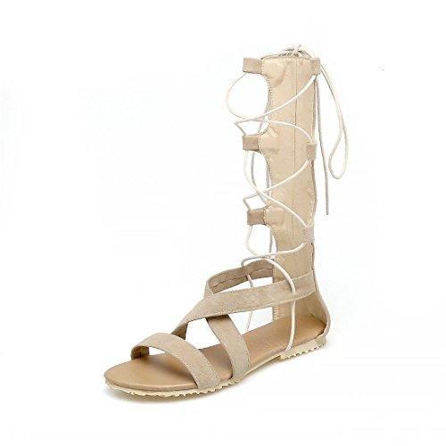 Beige Plano Mujer Tira Pulsera de Sandalia Mujer escarchado Botas Zapatos Sandalias Verano Frío para de con Calzado y el Transversal Mujer wRHfW8Fq