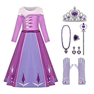 Little Girls Princess Dress Princess Costume Long Sleeve Birthday Party Dress up Halloween Costume for Girls