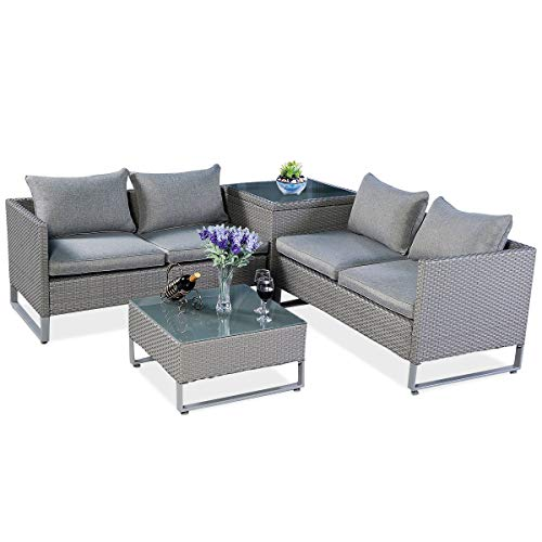 Modern Patio Furniture - Tangkula 4 Piece Patio Furniture Set Outdoor Garden Lawn Wicker Rattan Cushioned Love Seat with Storage Conversation Set (Grey)