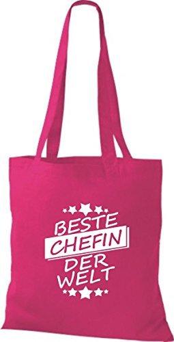 ShirtInStyle Bolso de tela Bolsa de algodón Mejor CHEFIN der Welt Fucsia
