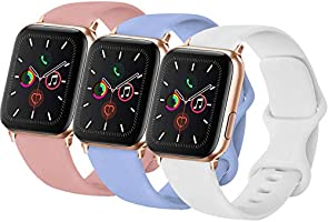 WAAILU Compatible with Apple Watch Band 38mm 40mm 42mm 44mm, Soft Silicone Strap Replacement Bands Compatible for iWatch...