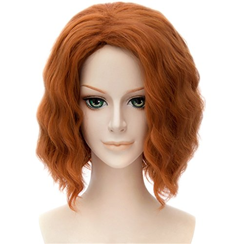 Costumes Romanoff Black Natasha Widow (MSHUI The Avengers Black Widow Natasha Costume Cosplay Wig Short Wavy Fluffy)