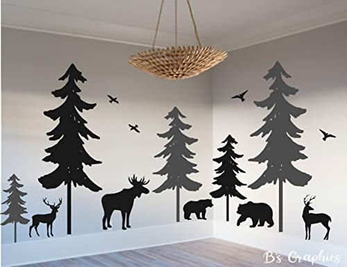 Woodland Vinyl Wall Decal Woodland Nursery Decal Pine Tree Decal Nature Forest Set of 5 Trees with Animals Deer Moose Bear Birds