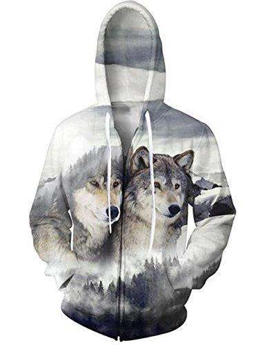 Uideazone Men Women 3D Print Animal Wolves Zip Up Hooded Sweatshirt Casual Autumn Winter Jacket Coat Plus Size Wolf4 ()