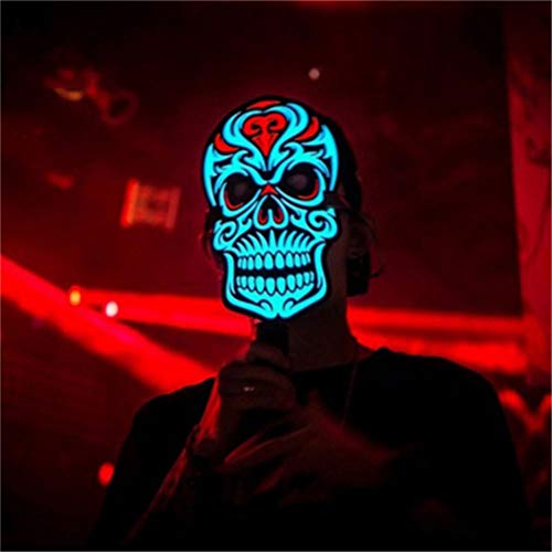 Coohole Amazing Sound Activated Flashing Mask Light up Reactive Rave Mask Halloween Glowing Party Christmas Dance Face Mask (D) -