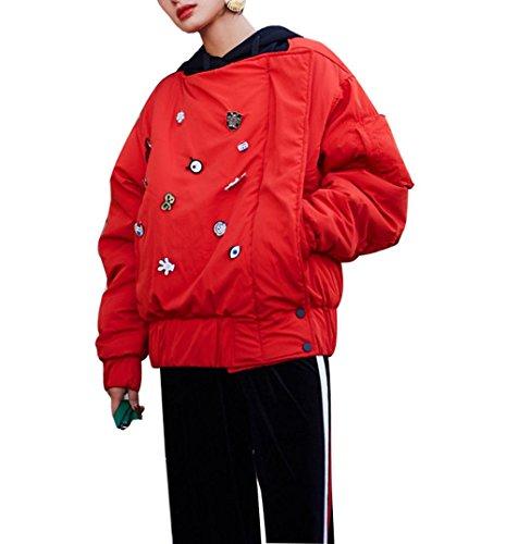 Rosso Giacca Cerniera Cartone Cappotto Giorno Cotone Animato Spessore Giù Donne s Di Neve Breve Sciolto Irregolare Inverno Cuciture Caldo La Camicia Rqv6vwT0S