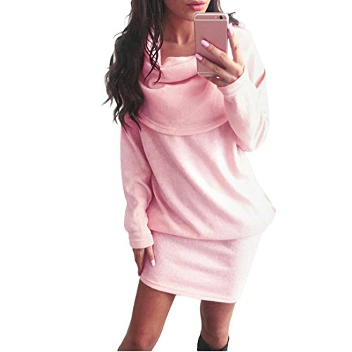 Women Sweater Dress,Neartime Long Sleeve Bodycon Lapel A Line Dresses (L, Pink)