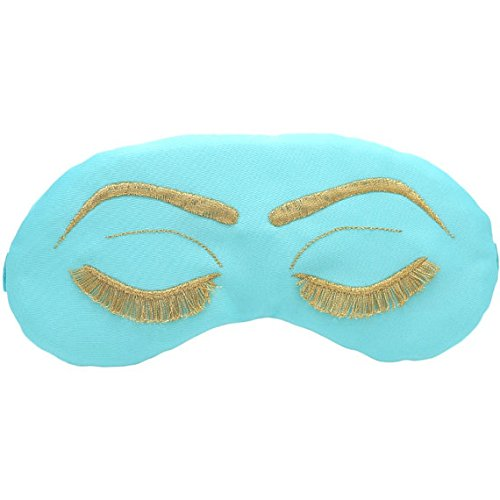 Breakfast at Tiffany's Sleep Eye Mask Inspired by Holly Golightly in Robin's Egg Blue and Gold