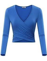 Women's Deep V Neck Long Sleeve Unique Slim Fit Coss Wrap Shirts Crop Tops