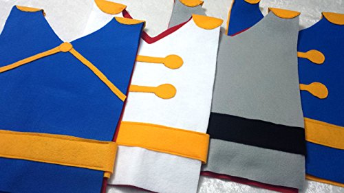 Kids Set of 4 Disney Prince Costume Tunics (Cinderella Prince Charming, Snow White Prince, Belle's Beast, Sleeping Beauty's Prince Phillip) - Baby/Toddler/Kids/Teen/Adult Sizes by Teatots Party Planning