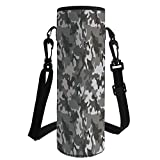 Water Bottle Sleeve Neoprene Bottle Cover,Camouflage,Monochrome Army Attire Pattern Camouflage Inside Vegetation Military Equipment Decorative,Grey Coconut,Fit for Most of Water Bottles