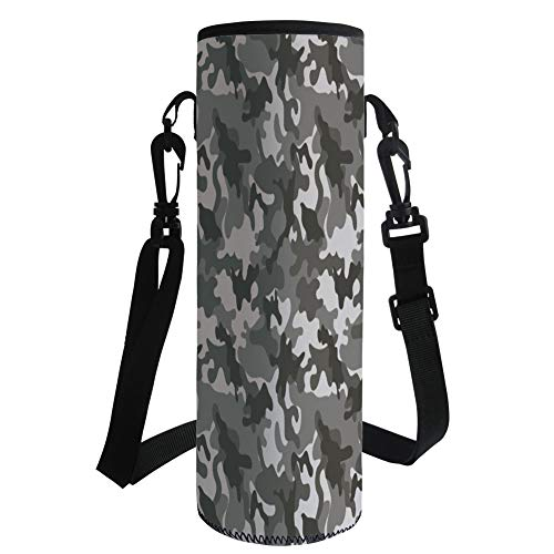 Water Bottle Sleeve Neoprene Bottle Cover,Camouflage,Monochrome Army Attire Pattern Camouflage Inside Vegetation Military Equipment Decorative,Grey Coconut,Fit for Most of Water Bottles by iPrint