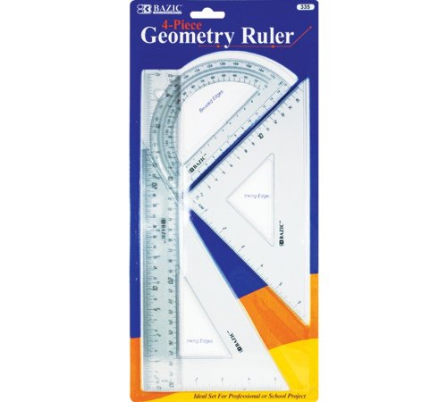 Bazic Geometry Ruler Combination Sets, 4 per Pack (Case of 144) by Bazic