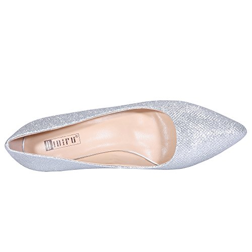 Glitter Pointed Slip Classic Toe Dress Mid Idifu In3 Silver Pump On Women's Heel wqXOS71