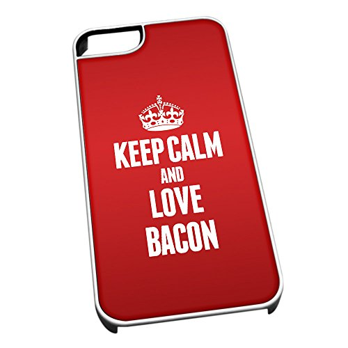 Bianco Cover per iPhone 5/5S 0790 Rosso Keep Calm And Love Bacone