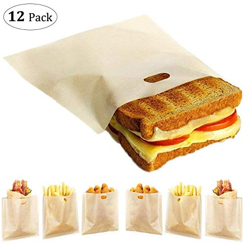 12 Pack Toaster Bags Reusable - Yokgrass 3 Sizes Nonstick Toast Bags for Heat Resistant - FDA Approved, Perfect for Grilled Cheese Sandwiches, Chicken, Pizza, Pastries, Panini