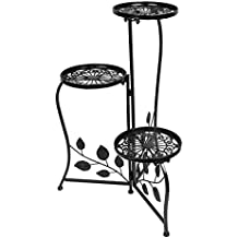 Dazone Black 3-Tiered Indoor / Outdoor Plant Stand, 11 Inch in Height - Holds 3-Flower Pot