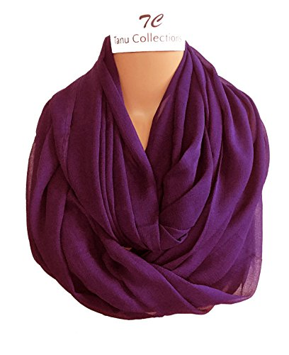TC Solid Color Soft Lightweight Chiffon Silk Feel Luxury Infinity Scarf India (Purple (India Scarf)