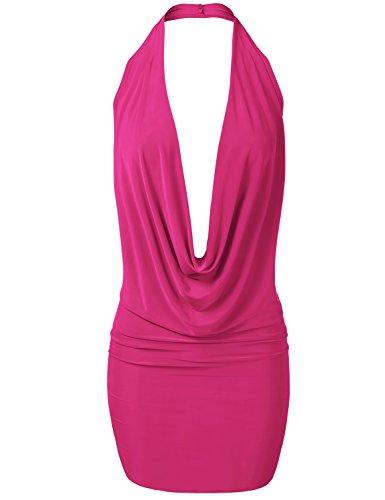 fuchsia halter dress - 5