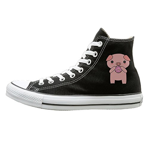 [Hilo Canvas Shoes Cute And Kawaii Pig Eating A Donut Hi-Top Unisex Canvas Sneaker- Season Lace Ups Shoes Casual Trainers Men And Women 44] (Custom Made Solo Dance Costumes)