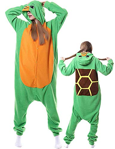 Turtle Onesies Adult Pajamas Halloween Costume Animal One Piece Cosplay Hoodie for Women Men]()