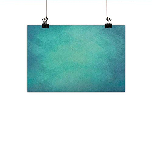 """homehot Teal Modern Frameless Painting Retro Inspired Grunge Style Abstract Pattern Vintage Design Calming Color Scheme Bedroom Bedside Painting 20""""x16"""" Turquoise Blue"""